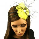 Fancy Feather Rhinestone Thin Headband Head Piece Fascinator Cocktail Yellow