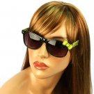 Wayfarer Ribbon Bow Kitty Animal Print Smoke Lens Sunglasses Glasses Blk Yellow
