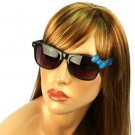 Wayfarer Ribbon Bow Kitty Animal Print Smoke Lens Sunglasses Glasses Black Blue