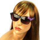 Wayfarer Ribbon Bow Kitty Animal Print Smoke Lens Sunglasses Glasses Blk Purple