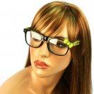Wayfarer Ribbon Bow Animal Print Fake Clear Lens Eyeglasses Glasses Blk Yellow