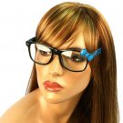 Wayfarer Ribbon Bow Animal Print Fake Clear Lens Eyeglasses Glasses Black Blue