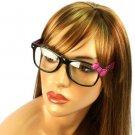 Wayfarer Ribbon Bow Animal Print Fake Clear Lens Eyeglasses Glasses Blk Magenta