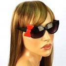 3D Ribbon BowSmoke Lens Spring Hinges Cute Sunglasses Glasses Shades Black Red