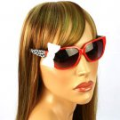 3D Ribbon Bow Smoke Lens Spring Hinges Cute Sunglasses Shades Red Animal Print