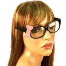 3D Ribbon Bow Fake Clear Lens Spring Hinges Cute Eyeglasses Glasses Black Pink