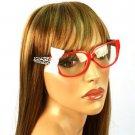 3D Ribbon Bow Fake Clear Lens Spring Hinges Eyeglasses Glasses Red Animal Pr Red