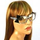 3D Ribbon Bow Fake Clear Lens Spring Hinges Eyeglasses Glasses White Animal Bk