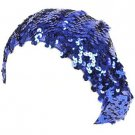 Sequins Tam Stretch Sparkle Shimmer Fun Shiny Beret Beanie Dance Cap Hat Blue
