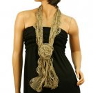 3D Rufflle Floral Lace Light Sheer Long Summer Scarf Headwrap Hip Wrap Taupe