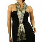 Liquid Wet Shimmer Silver Leopard Light Sheer Long Big Summer Scarf Shawl Lime