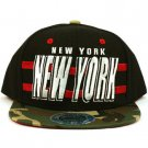 Cotton New York Camouflage Snapback Adjustable Baseball Ball Cap Hat Black Camo