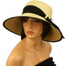 Summer Beach Straw Floppy Wide Brim Adjustable Church Hat Cap 58cm Beige Black