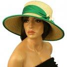 Summer Beach Straw Floppy Wide Brim Adjustable Church Hat Cap 58cm Beige Green