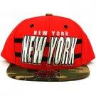 Cotton New York Camouflage Snapback Adjustable Baseball Ball Cap Hat Red Camo