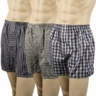 Men's 3pk Check Plaid Boxer Brief Underwear Comfort Waistband Assorted L 38-40
