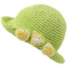 Girls Child Kids Ages 4-7 Child Summer Sun Bucket Crusher Hat Cap Lime 53cm