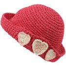 Girls Child Kids Ages 4-7 Child Summer Sun Bucket Crusher Hat Cap Fuchsia 53cm
