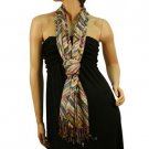 Aztec Pattern Shimmer Lurex Silver Light Fringe Long Summer Scarf Shawl Rainbow