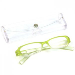 Crystal 2 Tone Clear Lens Reading Glasses Eyeglasses Pouch Lime Silver + 1.50