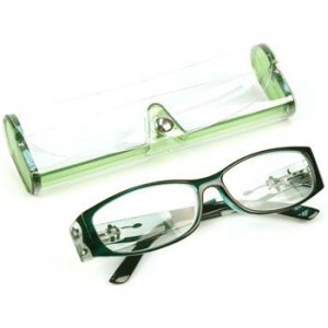 Floral Crystal Pivot Clear Lens Reading Eyeglasses Pouch Emerald Green + 1.75