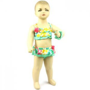 Baby Girls Toddler 2 pc Bikini Bathing Suit Hair Wrist Tie Green 3-6 months