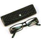 2 Tone Crystal Pivot Clear Lens Reading Glasses Eyeglasses Pouch Black + 1.75