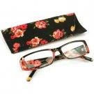 Fun Floral Frame Clear Lens Reading Eye Glasses Eyeglasses Pouch Black + 2.25
