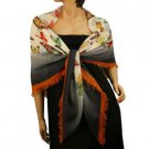 Vibrant Colors Butterfly Light Sheer Spring Big Square Summer Scarf Shawl Navy