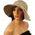 UPF 50 Protection Summer Stripe Adjustable Floppy Bucket Sun Hat Cap 57cm Almond