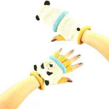 Ladies Winter Knit Flip Top Animal Fingerless Mittens Gloves Glomitt Panda Bear