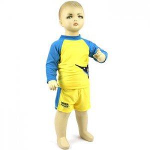 Baby Boys Toddler 2pc Bathing Suit Swim Wear Trunks Boxers Shirt Yellow 18-24m
