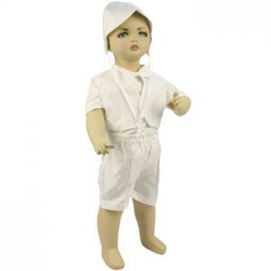 0-3 months Baby Boys Christening Baptismal Outfit Check Suit Tux 4pc Set w Hat
