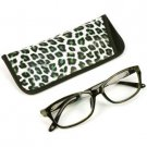 Animal Print Clear Lens Reading Glasses Eyeglasses Pouch Case Black Olive + 2.00