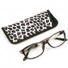 Animal Print Clear Lens Reading Glasses Eyeglasses Pouch Case Black Purple+ 2.50