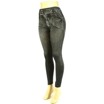 Fake Denim Jean Leggings Stretchy Skinny Pants Black