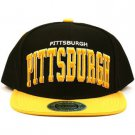 Men's Pittsburgh 2 Tone Snapback Adjustable Baseball Ball Cap Hat Black Gold