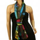 Vibrant Colors Butterfly Light Sheer Spring Big Long Summer Scarf Shawl Rainbow