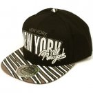 100% Cotton New York Zubaz Snapback Adjustable Baseball Ball Cap Hat Black Gray