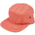 100% Cotton 5 Panel Checker Plaid Snapback Adjustable Back Cadet Cap Hat Red