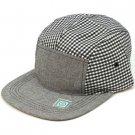 100% Cotton 5 Panel Checker Plaid Snapback Adjustable Back Cadet Cap Hat Navy