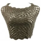 Winter Hand Knit Fishnet Weave Wide Circle Loop Cover Up Shrug Scarf Shawl Gray