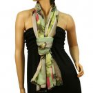 Vibrant Colors Butterfly Light Sheer Spring Big Long Summer Scarf Shawl Lime