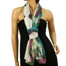 Vibrant Colors Butterfly Light Sheer Spring Big Long Summer Scarf Shawl Blue