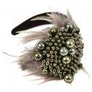 Wide Fancy Formal Real Feathers Metallic Beads Handmade Headwrap Headband Gray