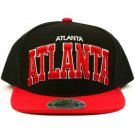 Men's Atlanta 2 Tone Cool Snapback Adjustable Baseball Ball Cap Hat Black Red
