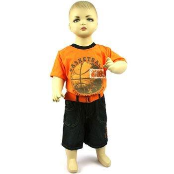 Baby Boys Toddler 2pc Basketball Shirt w Belt & Denim Shorts Orange 18-24 months