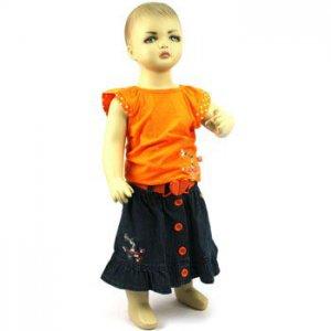 Baby Girls Toddler 2pc Short Shirt Heart Belt w Denim Skirt Orange 18-24 months