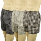 Men's 3pk Plaid Navys Boxer Brief Underwear Comfort Waistband Assorted M 34-36
