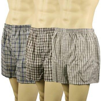 Men's 3pk Plaid Boxer Brief Underwear Comfort Waistband Assorted #5  XL 42-44
